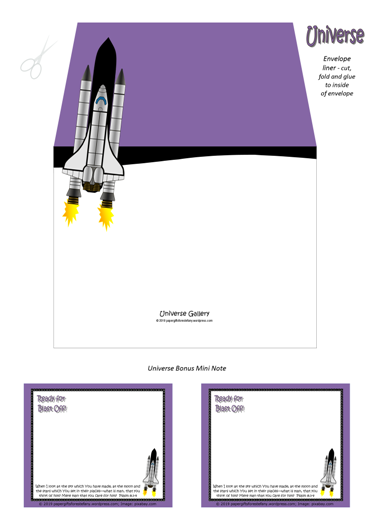 FREE Space / Universe envelope liner for kids showing how big Earth and the planets are compared to the sun, and a rocket ship blasting off into outer space; with Bible verse from Psalm 8:3-4; giving glory to God as designer; free printable