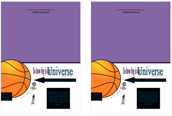 FREE Space / Universe note cards showing how big Earth and the planets are compared to the sun; with Bible verse from Psalm 8:3-4; giving glory to God as designer; free printable