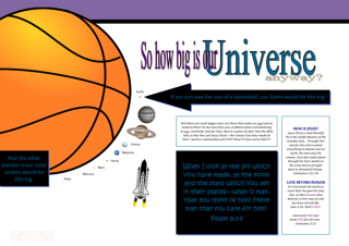 FREE Space / Universe poster for kids showing how big Earth and the planets are compared to the sun, and a rocket ship blasting off into outer space to explore them; with Bible verse from Psalm 8:3-4; giving glory to God as designer; free printable