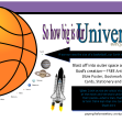 FREE Space / Universe printables for kids showing how big Earth and the planets are compared to the sun, and a rocket ship blasting off into outer space to explore them; with Bible verse from Psalm 8:3-4; giving glory to God as designer; free printable