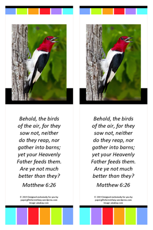 FREE Woodpecker bookmark with Bible verse from Matthew 6:26; free printable