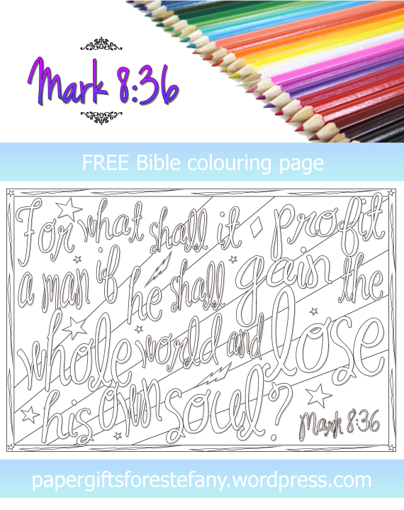 FREE Scripture Doodle; Mark 8:36; free printable