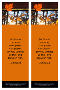 FREE Fall / Autumn bookmark with Bible verse from James 5:7-8; free printable