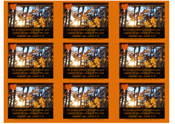 FREE Fall / Autumn Bible wallet cards with Bible verse from James 5:7-8; free printable