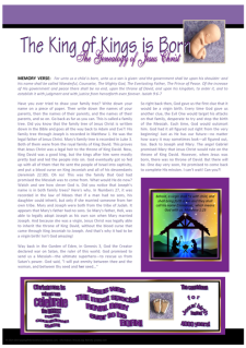 FREE Genealogy of Jesus - Christmas article for kids; free printable