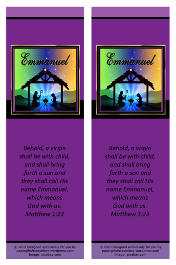 FREE Christmas Nativity bookmark with Bible verse from Matthew 1:23; free printable