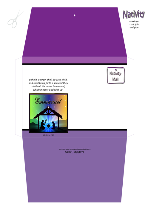 FREE Christmas Nativity envelope with Bible verse from Matthew 1:23; free printable