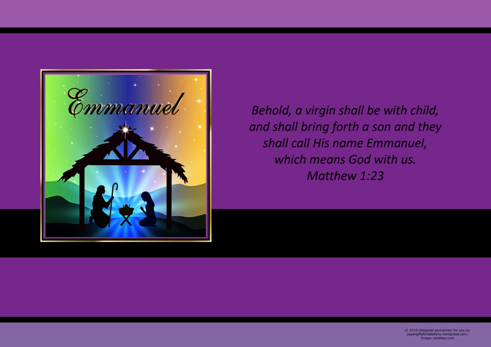 FREE Christmas Nativity poster with Bible verse from Matthew 1:23; free printable