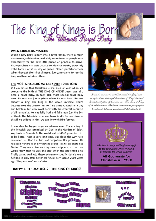 The Ultimate Royal Baby - Christmas article for kids; free printable