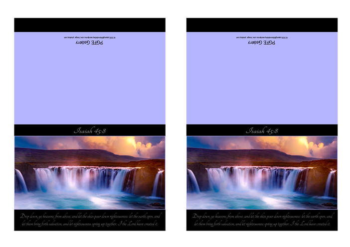 FREE Waterfall Sunset Bible Note Cards with Bible verse from Isaiah 45:8 with blue and black background; free printable