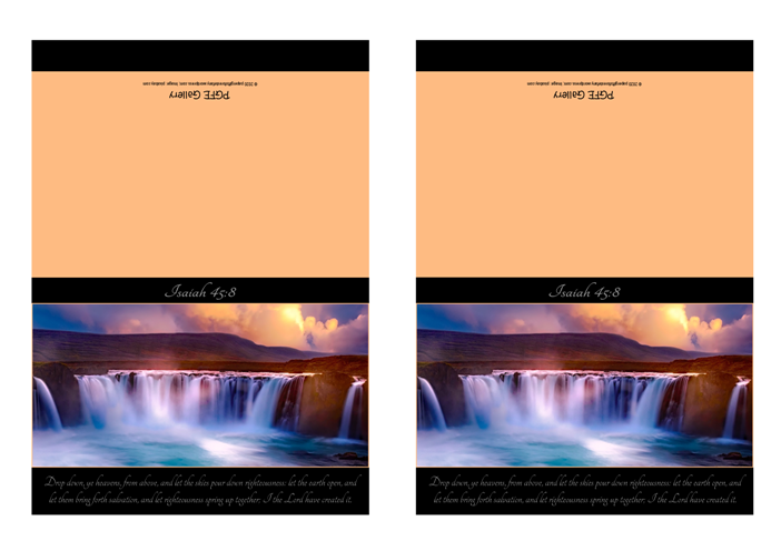 FREE Waterfall Sunset Bible Note Cards with Bible verse from Isaiah 45:8 with black and peach background; free printable