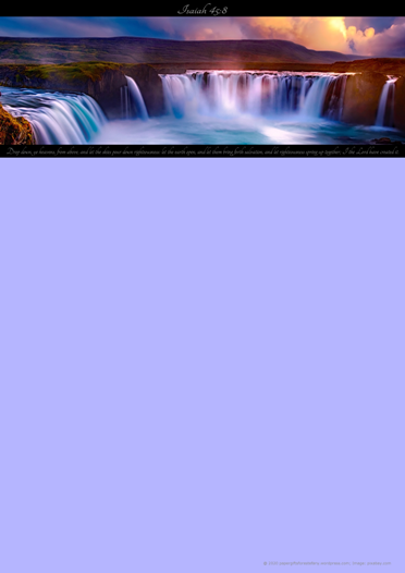 FREE Waterfall Sunset Bible Stationery with Bible verse from Isaiah 45:8 with blue background; free printable
