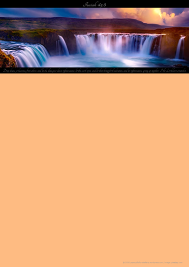 FREE Waterfall Sunset Bible Stationery with Bible verse from Isaiah 45:8 with peach background; free printable