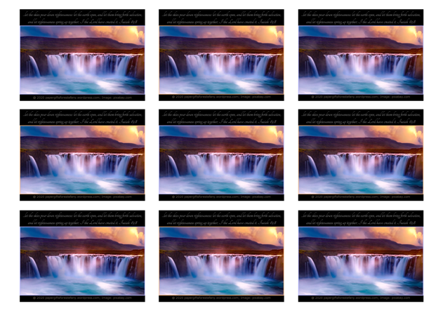 FREE Waterfall Sunset Bible Wallet Cards with Bible verse from Isaiah 45:8; free printable