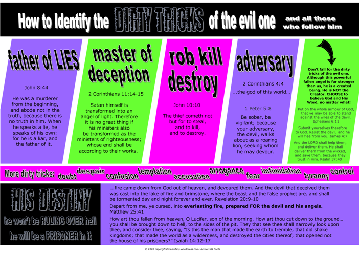 FREE Poster with Bible verses; Dirty Tricks of the Evil One; free printable