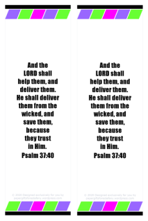 FREE Bible Bookmark with colourful blocks of colour (purple, pink, green) on white background and Bible verse from Psalm 37:40; free printable