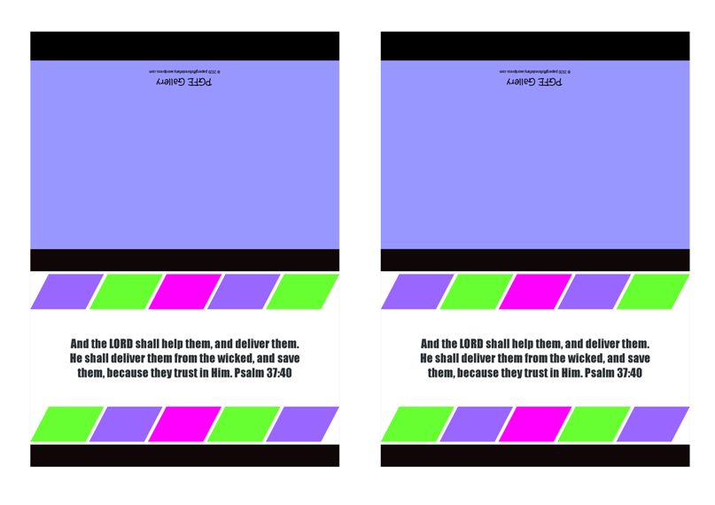 FREE Note Cards with colourful blocks of colour (purple, pink, green) on white and blue background and Bible verse from Psalm 37:40; free printable