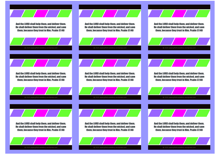 FREE Bible Wallet Cards with colourful blocks of colour (purple, pink, green) on white and blue background and Bible verse from Psalm 37:40; free printable