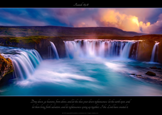 FREE Waterfall Sunset Bible Poster with Bible verse from Isaiah 45:8; free printable