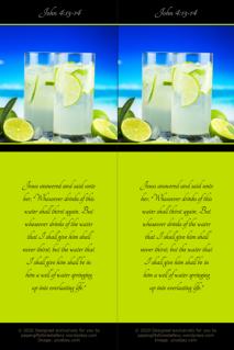 FREE Bible bookmarks; Tropical Beach scene with deep blue skiy and ice cold drinks; Bible verse from John 4:13-14; lime green background with black border; free printable