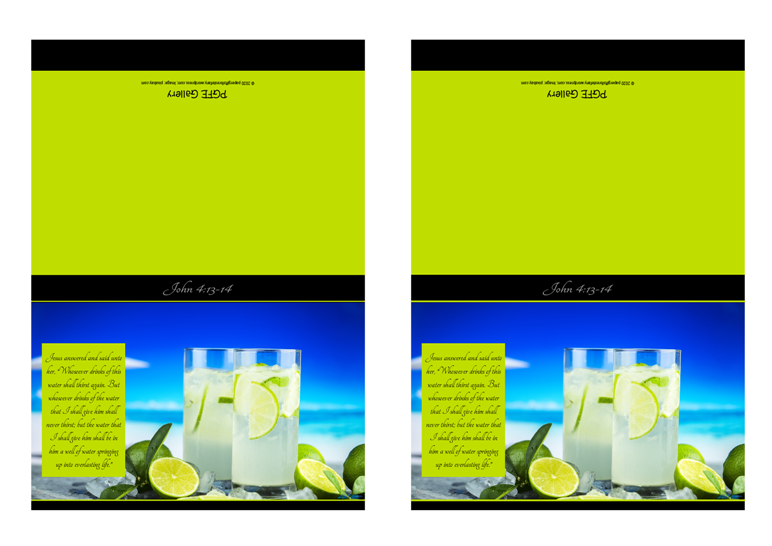 FREE Bible note cards; Tropical Beach scene with deep blue skiy and ice cold drinks; Bible verse from John 4:13-14; lime green background with black border; free printable