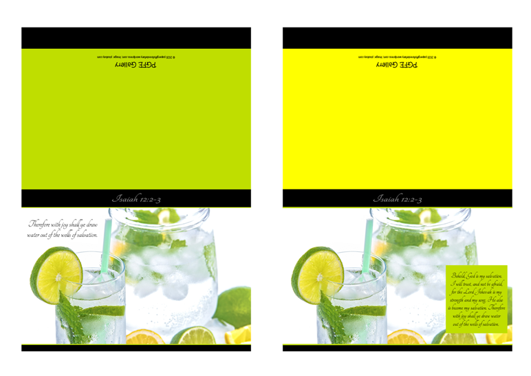 FREE Bible note cards; jug and glass of ice cold water with lemon, lime and mint garnish; lime and yellow backgrounds; Bible verse from Isaiah 12:2-3; free printable
