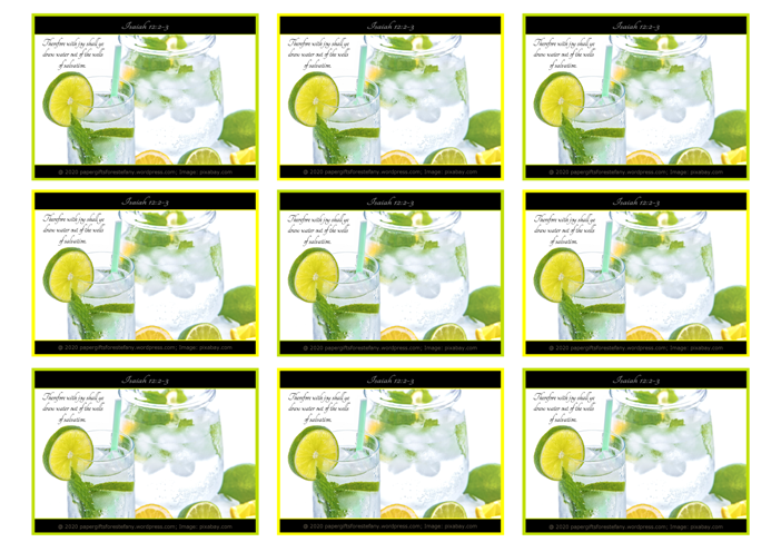 FREE Bible wallet cards; jug and glass of ice cold water with lemon, lime and mint garnish; lime and yellow backgrounds; Bible verse from Isaiah 12:2-3; free printable
