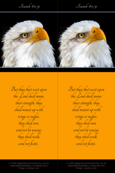 FREE Eagle Bookmark with Bible verse from Isaiah 40:31; black and gold; free printable