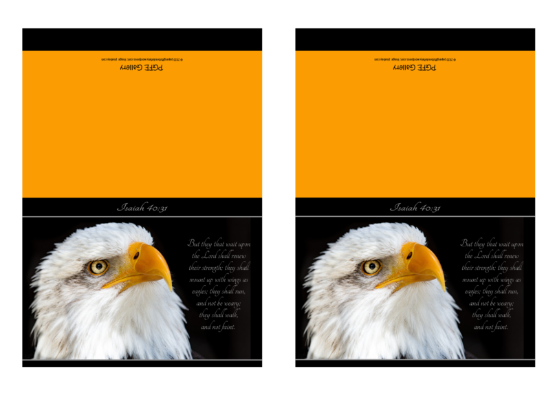 FREE Eagle Note Cards with Bible verse from Isaiah 40:31; black and gold; free printable