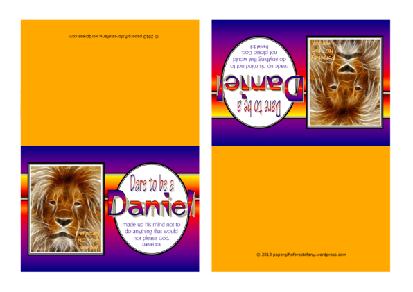 FREE Dare to be a Daniel note cards (Daniel in the Lions' Den and Daniel's 3 Friends in the Fiery Furnace) for kids with Bible verse from Daniel 1:8; free printable