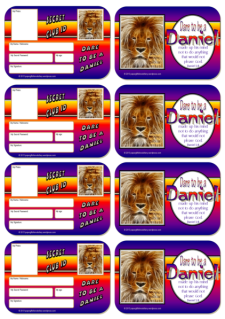 FREE Dare to be a Daniel secret ID cards (Bible wallet cards) for kids (for Daniel in the Lions' Den and Daniel's 3 Friends in the Fiery Furnace) with Bible verse from Daniel 1:8; free printable
