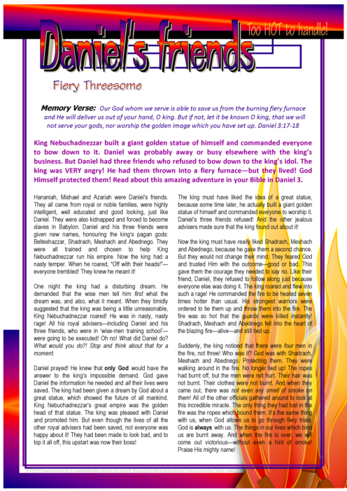 Daniel's 3 friends - Shadrach, Meshach and Abednego ~ in the Fiery Furnace article for kids; free printable