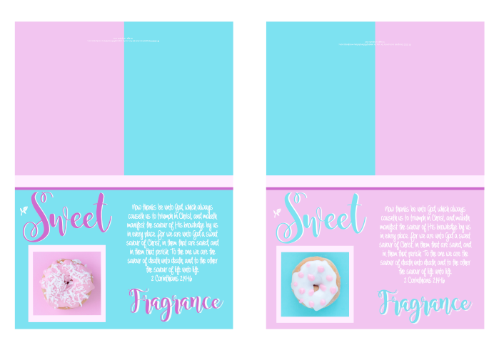 FREE Sweet Fragrance of Christ Note Cards with Bible verse from 2 Corinthians 2:14-16 and iced donuts on pink and aqua background; free printable