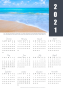 FREE 2021 calendar with Bible verse and photo of a beautiful beach; free printable