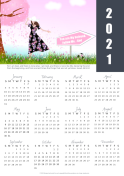 FREE 2021 calendar with Bible verse, girl in pink and mauve floral dress holding her hat, soccerball on grass, and 'You are my Beloved. Follow Me. -God' signpost; free printable