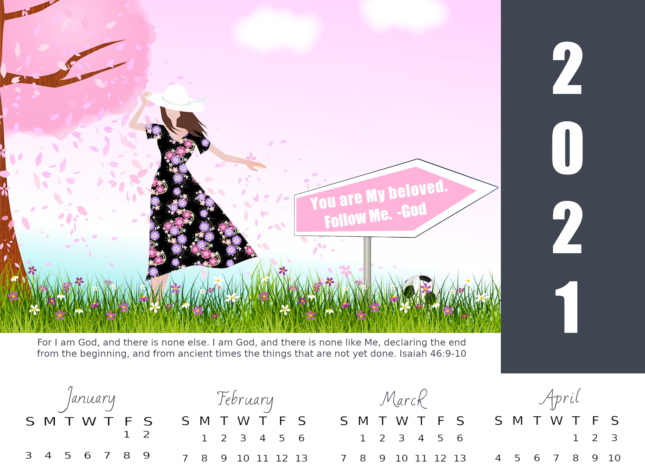 FREE 2021 calendars with Bible verse; free printable