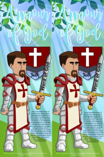 FREE Armour of God Bible bookmarks for kids with Bible verses from Ephesians 6:10-18; free printable
