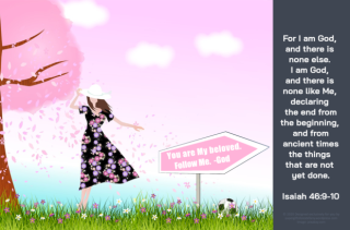 FREE Bible Poster with Bible verse from Isaiah 46:9-10, a girl in a pink and mauve floral dress holding her hat, soccer ball on the grass, and 'You are my Beloved. Follow Me. -God' signpost; free printable