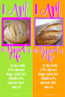FREE Bible bookmarks with Bible verse from John 6:35 I am the Bread of Life; lime green or orange with pink and purple text; free printable
