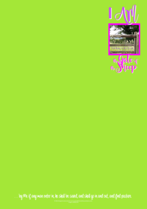 FREE stationery with Bible verse; I am the Gate; on lime green background; free printable