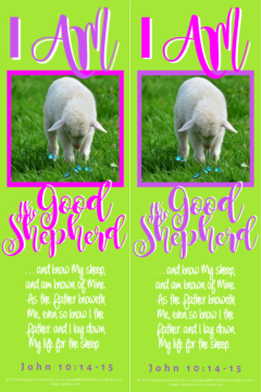 FREE Bible bookmark; I am the Good Shepherd; free printable