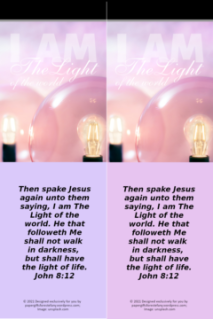 FREE Bible bookmark; I am the Light of the World; pink light globes on dusky pink or mauve background; free printable