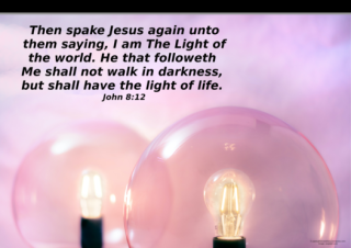 FREE Bible poster; I am the Light of the World; pink light globes on pink background; free printable
