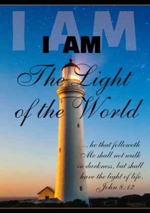 FREE Lighthouse Bible poster; I am the Light of the World; free printable