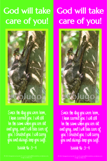 Colugo Mother and Baby bookmark for kids; pink, green and yellow fleuro background; free printable