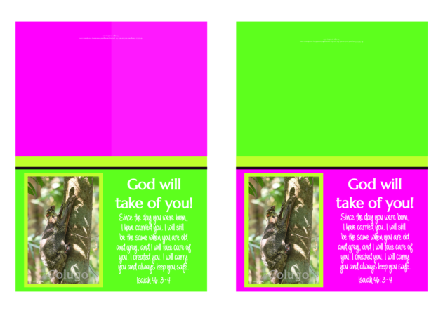 Colugo Mother and Baby note cards for kids; pink, green and yellow fleuro background; free printable