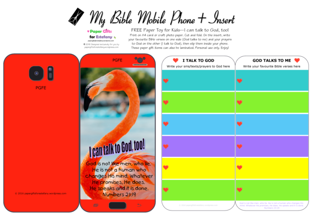 Mobile Phone paper toy craft with photo of flamingo on red background; I talk to God; God talks to me; write out your favourite Bible verses and prayers to God; free printable
