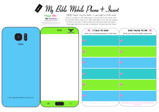 Mobile Phone paper toy craft on blue and lime background; I talk to God; God talks to me; write out your favourite Bible verses and prayers to God; add your child's photo; free printable
