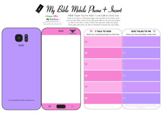 Mobile Phone paper toy craft on mauve and pink background; I talk to God; God talks to me; write out your favourite Bible verses and prayers to God; add your child's photo; free printable