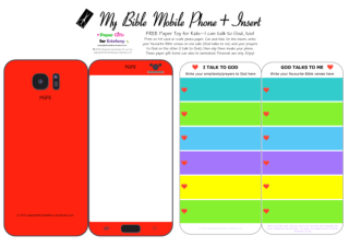 Mobile Phone paper toy craft on bright red background; I talk to God; God talks to me; write out your favourite Bible verses and prayers to God; add your child's photo; free printable